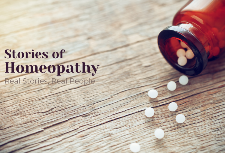 Stories of Homeopathy in text, a small vial with homeopathy pellets spilled out on the table